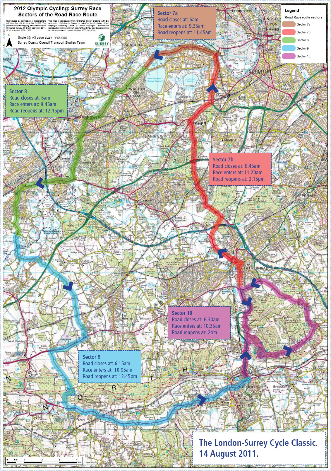 London to Surrey Cycle Classic Race Map